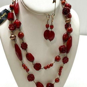 NWT Cookie Lee Necklace Earrings Set Red Beaded
